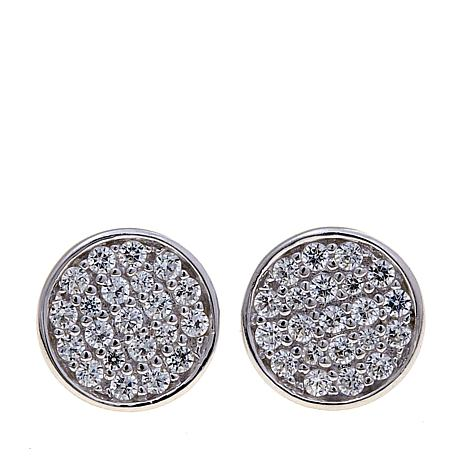 absolute 38ctw cubic zirconia sterling silver pavé disc stud ear