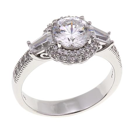 Absolute™ 3ctw CZ 100-Facet Round and Baguette Pavé Ring