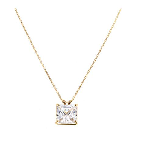 "Absolute™ 3ctw CZ 14K Princess Solitaire Pendant with 18"" Chain"