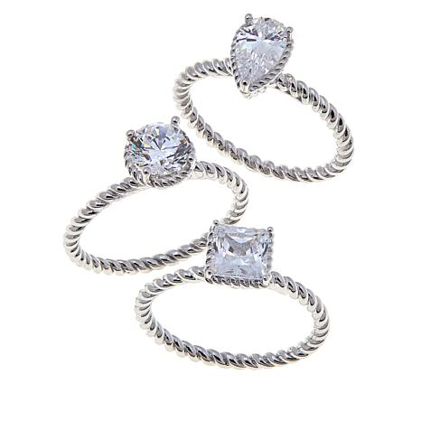Absolute™ 3ctw CZ Pear, Round and Square 3pc Ring Set