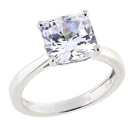 Absolute™ 3ctw CZ Sterling Silver Square Prong-Set Solitaire Ring