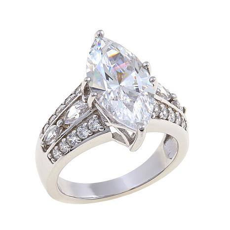 Absolute 4.86ctw CZ Marquise with Marquise & Round Ring