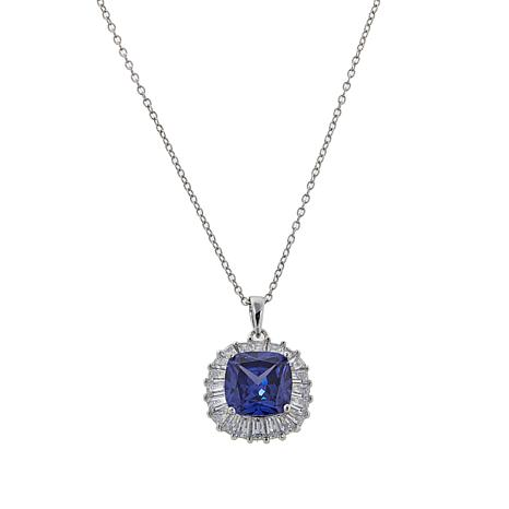 """Absolute™ 4ctw Tanzanite-Color and Clear CZ Pendant with 18"""" Chain"""