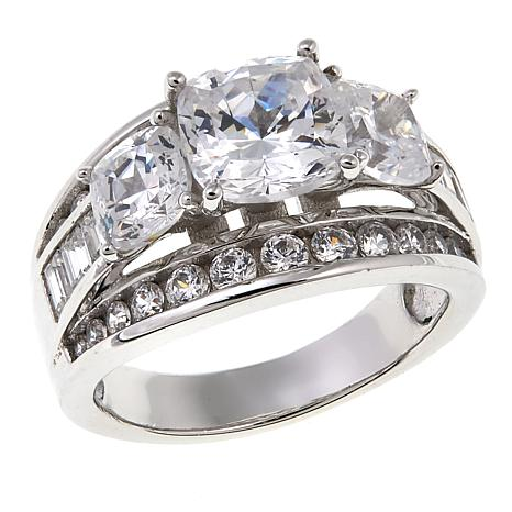 Absolute™ 5.37ctw CZ Sterling Silver Cushion, Round and Baguette Ring
