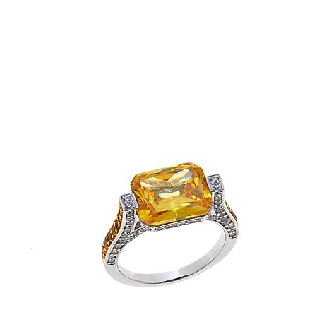 Absolute™ 5.70ctw CZ Canary and Clear Tension Ring