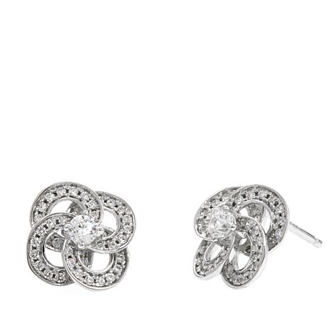 "Absolute™ .59ctw CZ ""Love Knot"" Stud Earrings"