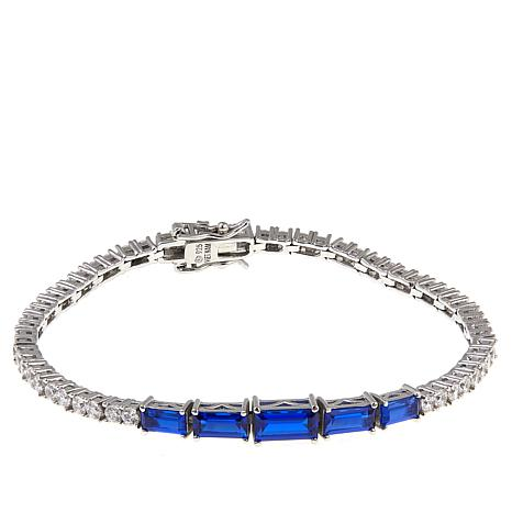 "Absolute™ 6.06ctw CZ and Created Sapphire Baguette 7-1/2"" Bracelet"