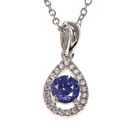 Absolute™ .60ctw CZ Tanzanite-Color and Clear Pear-Shaped Halo Pendant