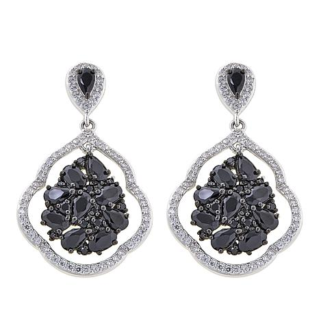 Absolute™ 6.57ctw Black and Clear CZ Cluster Drop Earrings
