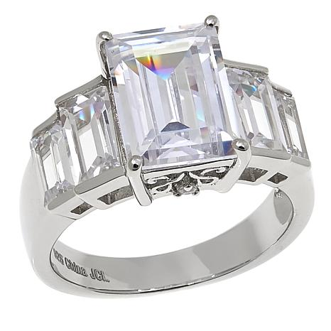Absolute™ 7.02ctw CZ  Emerald-Cut with Baguette Sides Ring