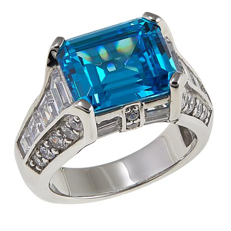 Absolute™ 8.54ctw CZ Blue and Clear Emerald-Cut East/West Ring
