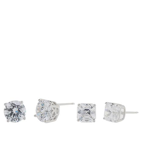 Absolute™ 8ctw CZ Sterling Silver Asscher and Round Stud Earrings Set