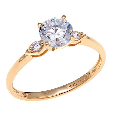 Absolute™ .96ctw Cubic Zirconia 14K  3-Stone Ring
