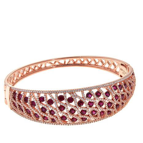 Absolute™ Created Ruby and CZ Lattice Bracelet