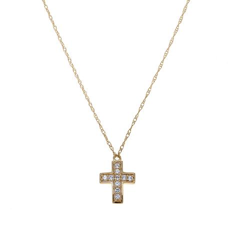 Absolute™ Cubic Zirconia 10K Round Stone Cross Necklace