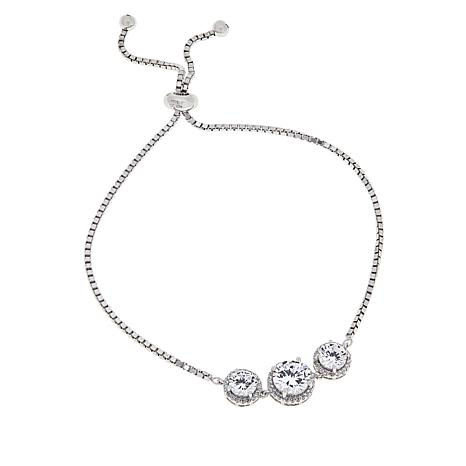 Absolute™ Cubic Zirconia Adjustable 3-Stone Bracelet