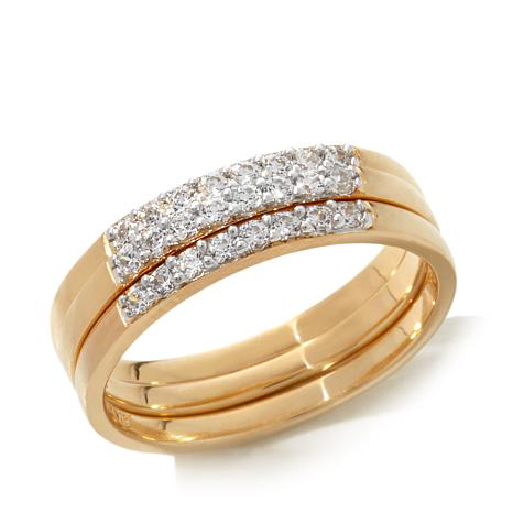 Absolute™  Cubic Zirconia Gold-Plated  Pavé Band 3-piece Stackable Set