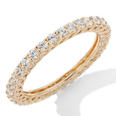 Absolute™ Cubic Zirconia Gold-Plated Round Prong-Set Eternity Ring