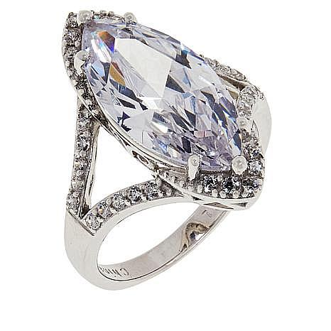 Absolute™ Cubic Zirconia Marquise Pavé Engagement Ring