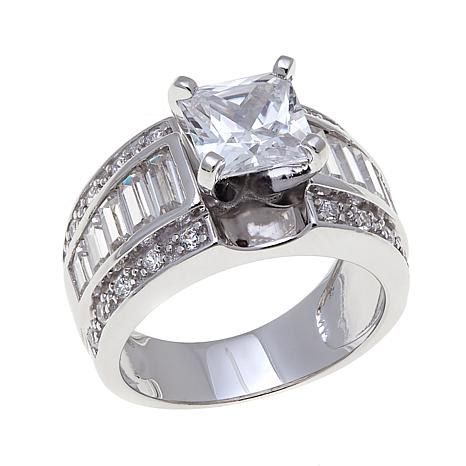 Absolute™ Cubic Zirconia  Princess with Baguette Channel Ring