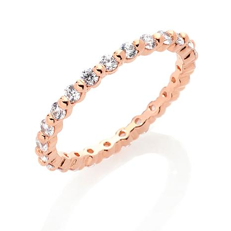 Absolute™ Cubic Zirconia Rose Gold-Plated Prong-Set Eternity Ring