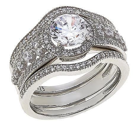 Absolute™ Cubic Zirconia Round with Round Sides 3-piece Ring Set