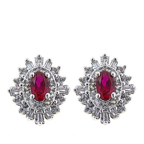 Absolute™ CZ and Created Ruby Sterling Silver Oval Stud Earrings