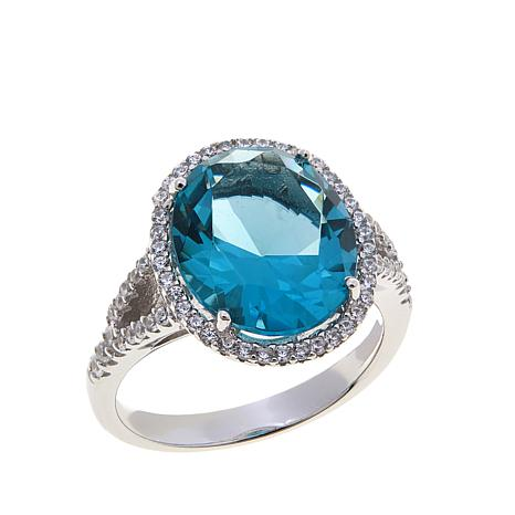 Blue Topaz Cubic Zirconia Ring
