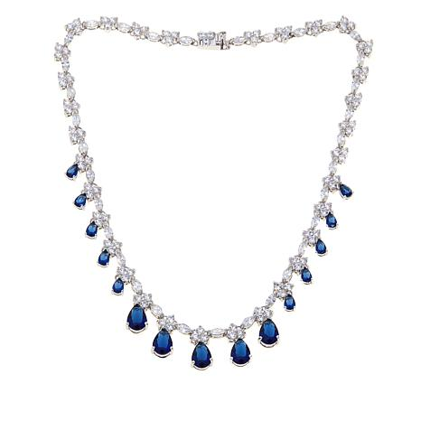 Absolute™ CZ and Simulated Sapphire Necklace