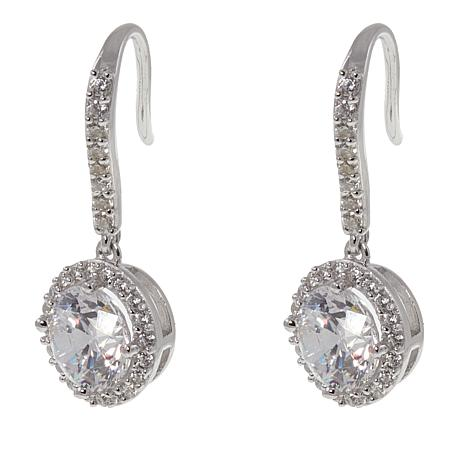 Absolute™  CZ Aurora Star 101 Facets Platinum-Plated Halo Earrings