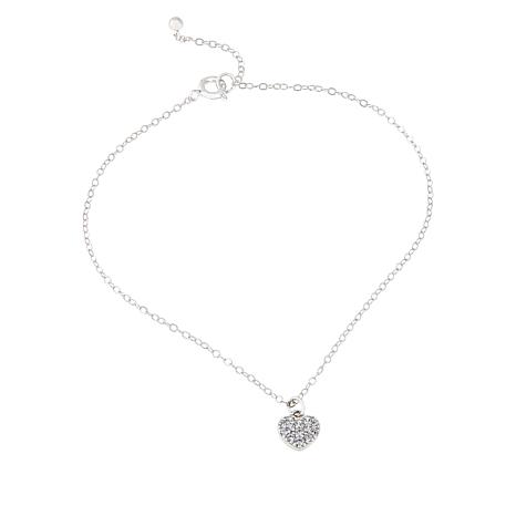 Absolute™ CZ Sterling Silver Pavé Heart Dangle Anklet