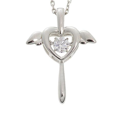 """Absolute™ Dancing CZ Winged Cross Pendant with 18"""" Chain"""