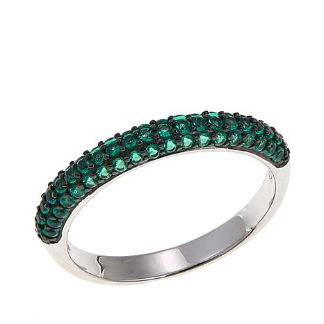 Absolute™ Simulated Emerald Sterling Silver Band Ring