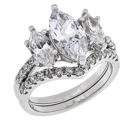 Absolute™ Sterling Silver 3-Stone Marquise 2-piece Ring Set