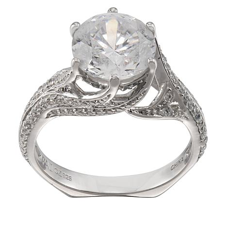 Absolute™ Sterling Silver 3.50ctw Cubic Zirconia Wavy Solitaire Ring
