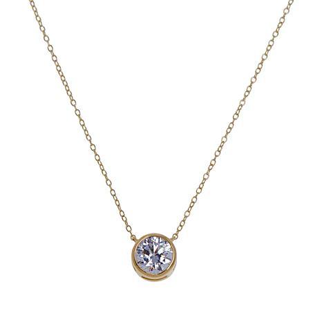 Absolute™ Sterling Silver Cubic Zirconia Bezel-Set Drop Necklace