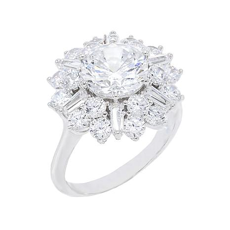 Absolute™ Sterling Silver Cubic Zirconia Floral Style Ring
