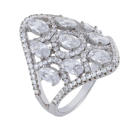 Absolute™ Sterling Silver Cubic Zirconia Open Style Ring