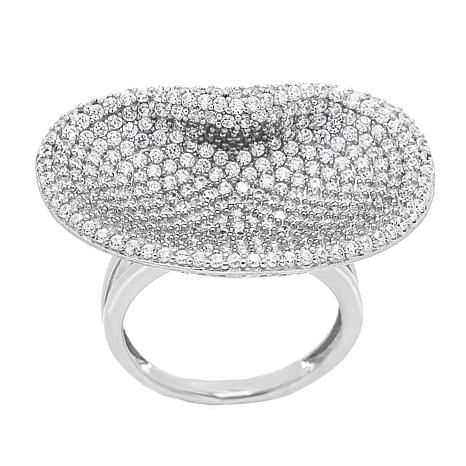Absolute™ Sterling Silver Cubic Zirconia Pavé Concave Ring