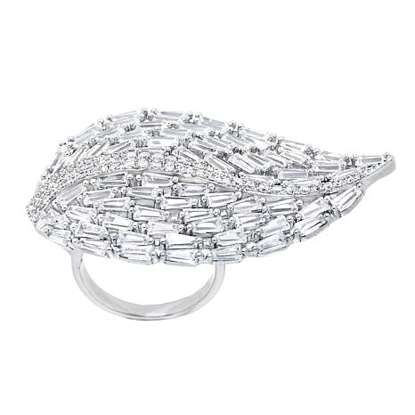Absolute™ Sterling Silver Cubic Zirconia Round and Baguette Leaf Ring