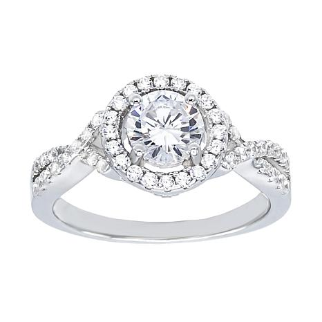 Absolute™ Sterling Silver Cubic Zirconia Round Halo Twist Shank Ring