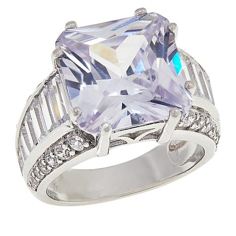 Absolute™ Sterling Silver CZ Princess and Baguette Pavé Trim Ring