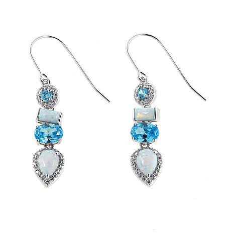Absolute Synthetic Opal And Cz Sterling Silver Drop Earrings
