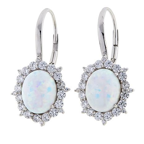 f4b79d87d23da exclusive! Absolute™ Synthetic Opal and CZ Sterling Silver Frame Drop  Earrings