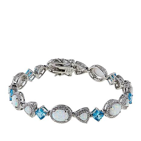 Absolute™ Synthetic Opal and CZ Sterling Silver Line Bracelet
