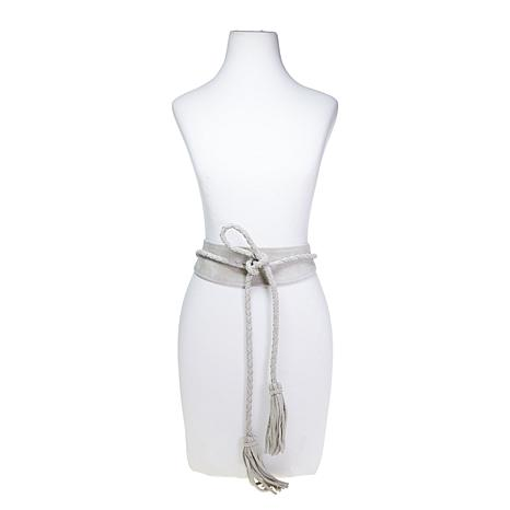 ADA Collection Lucky Braided Leather Wrap Belt with Tassels
