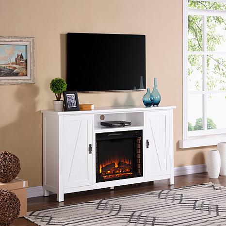 Adderly Farmhouse-Style Electric Fireplace TV Stand - White