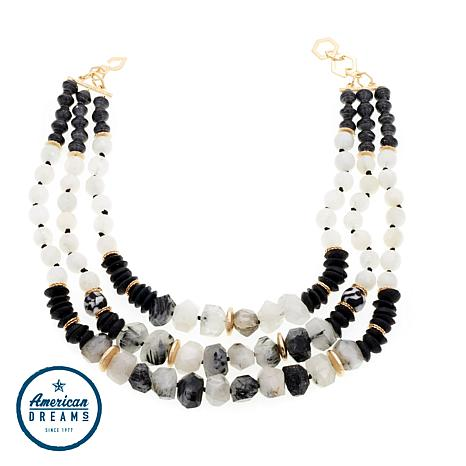 "Akola ""Debutant"" Gem, Recycled Glass and Karatasi Paper Bead Necklace"