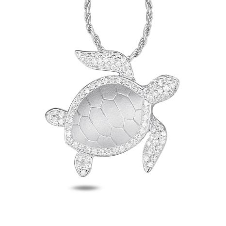 Alamea Sterling Silver CZ Turtle Pendant with Chain Necklace