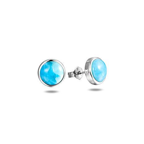 Alamea Sterling Silver Round Larimar Stud Earrings